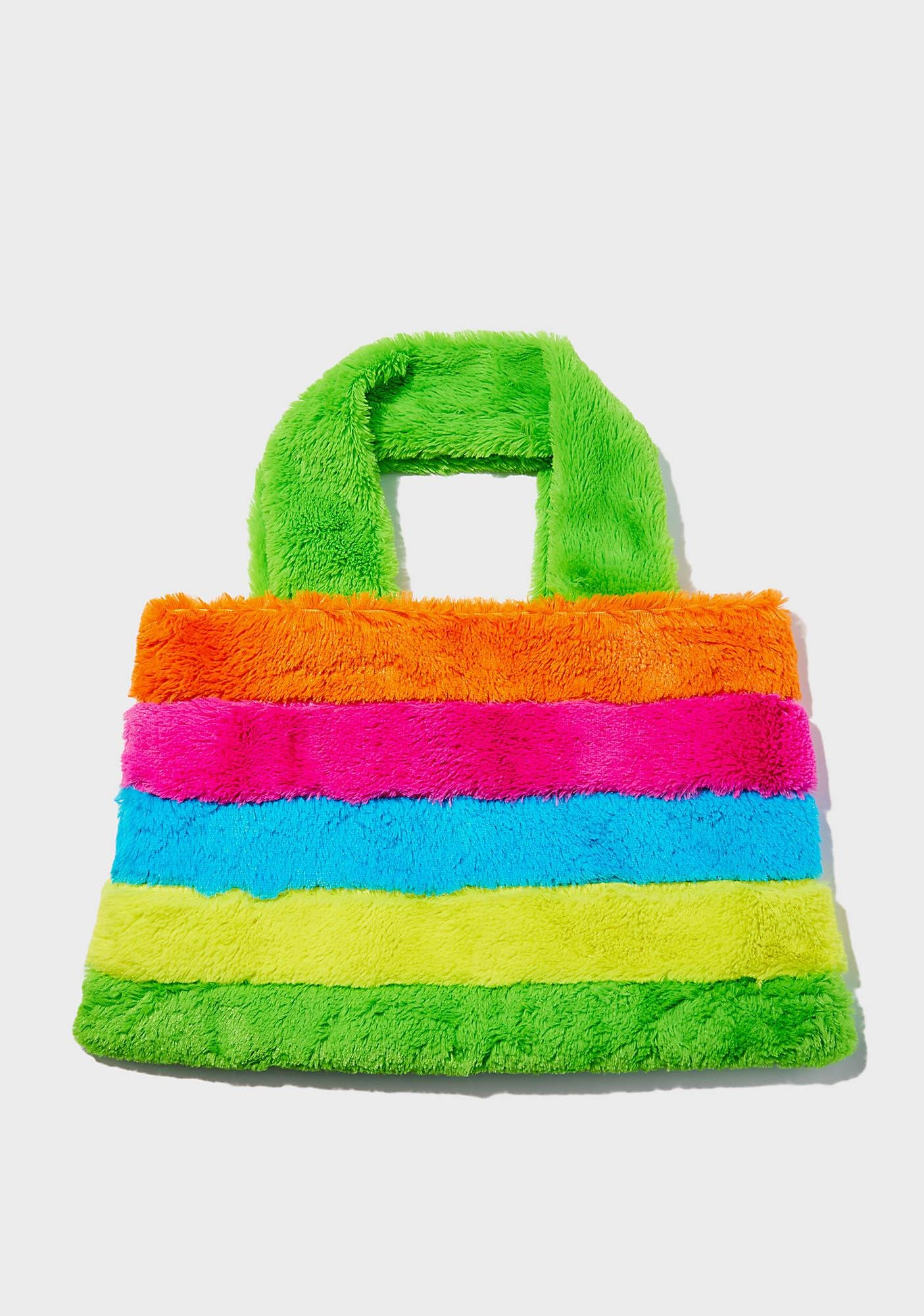 Current Mood Rainbow Chaser Fuzzy Tote