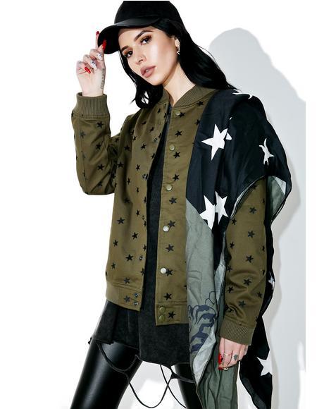 Star Embroidered Varsity Jacket