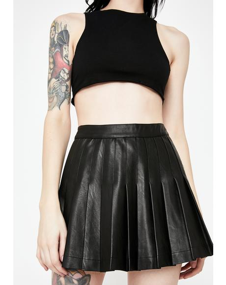 Vegan Leather Pleated Mini Skirt