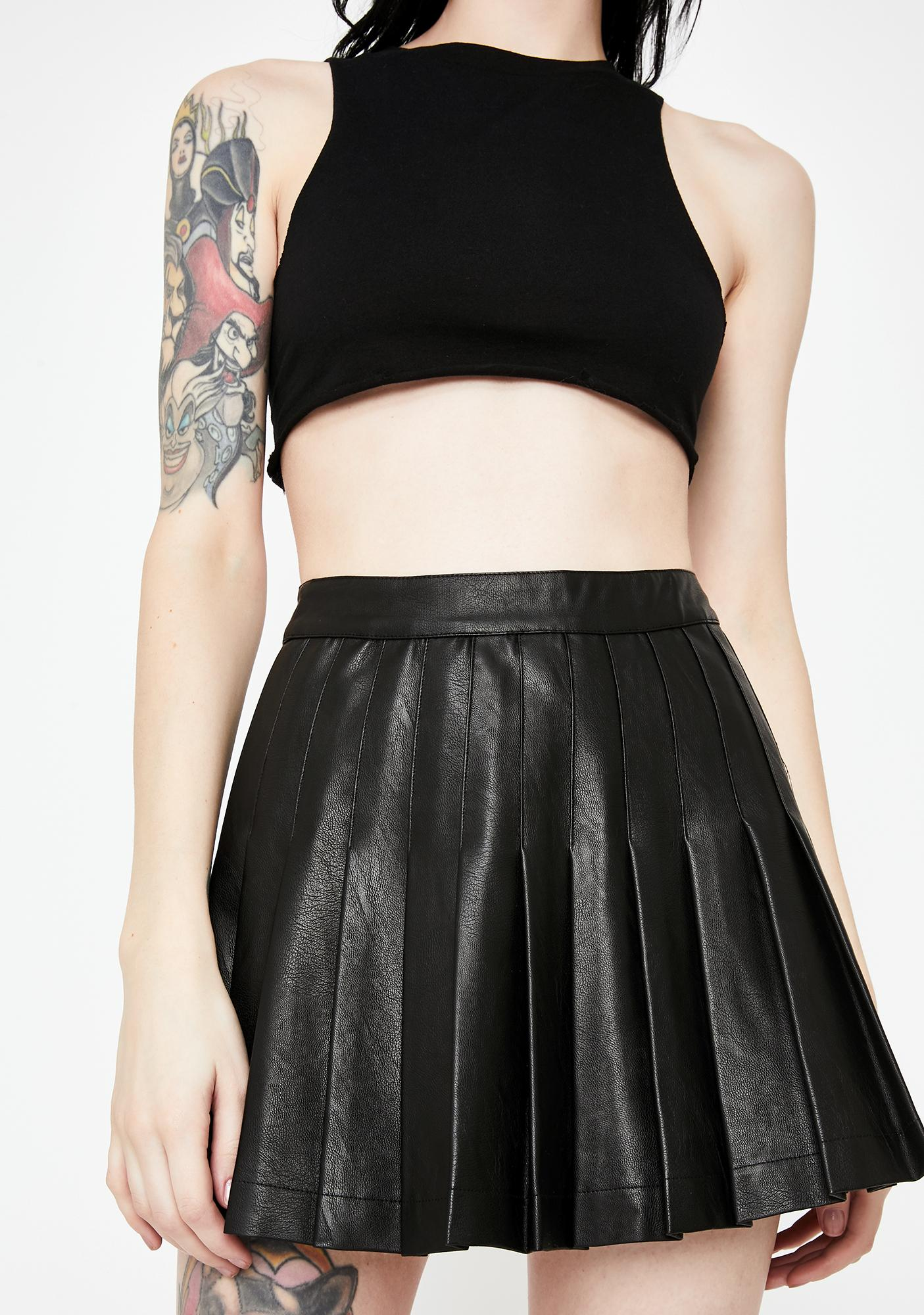 Jaded London Vegan Leather Pleated Mini Skirt