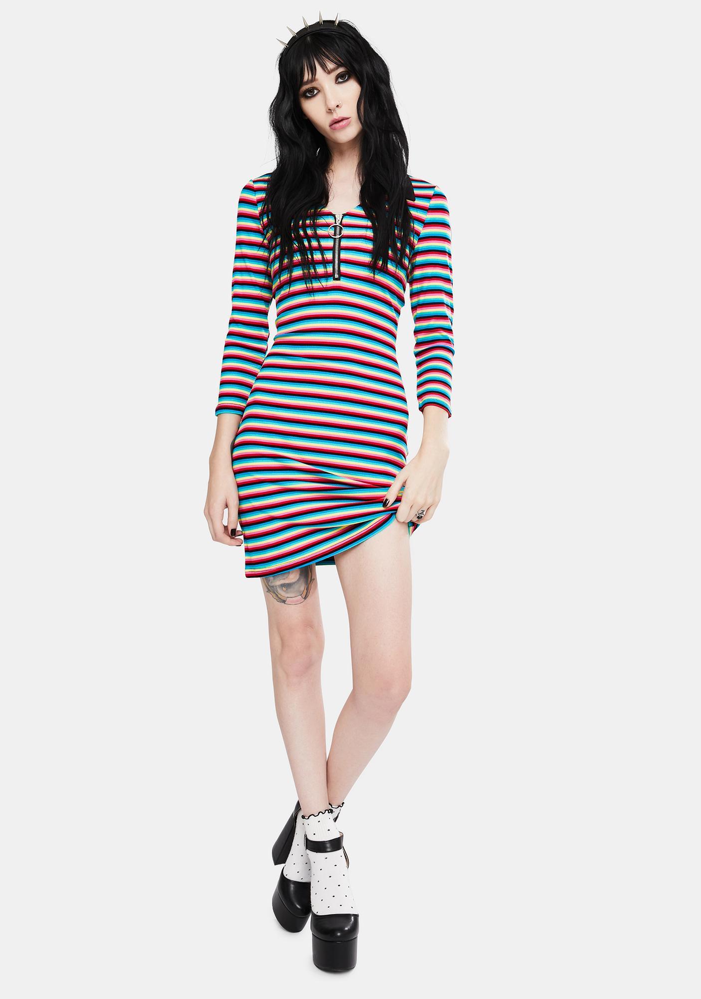 Jawbreaker LSD Rainbow Stripe Mini Dress