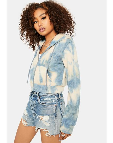 Aqua Always in Clutch Tie Dye Zip Up Hoodie