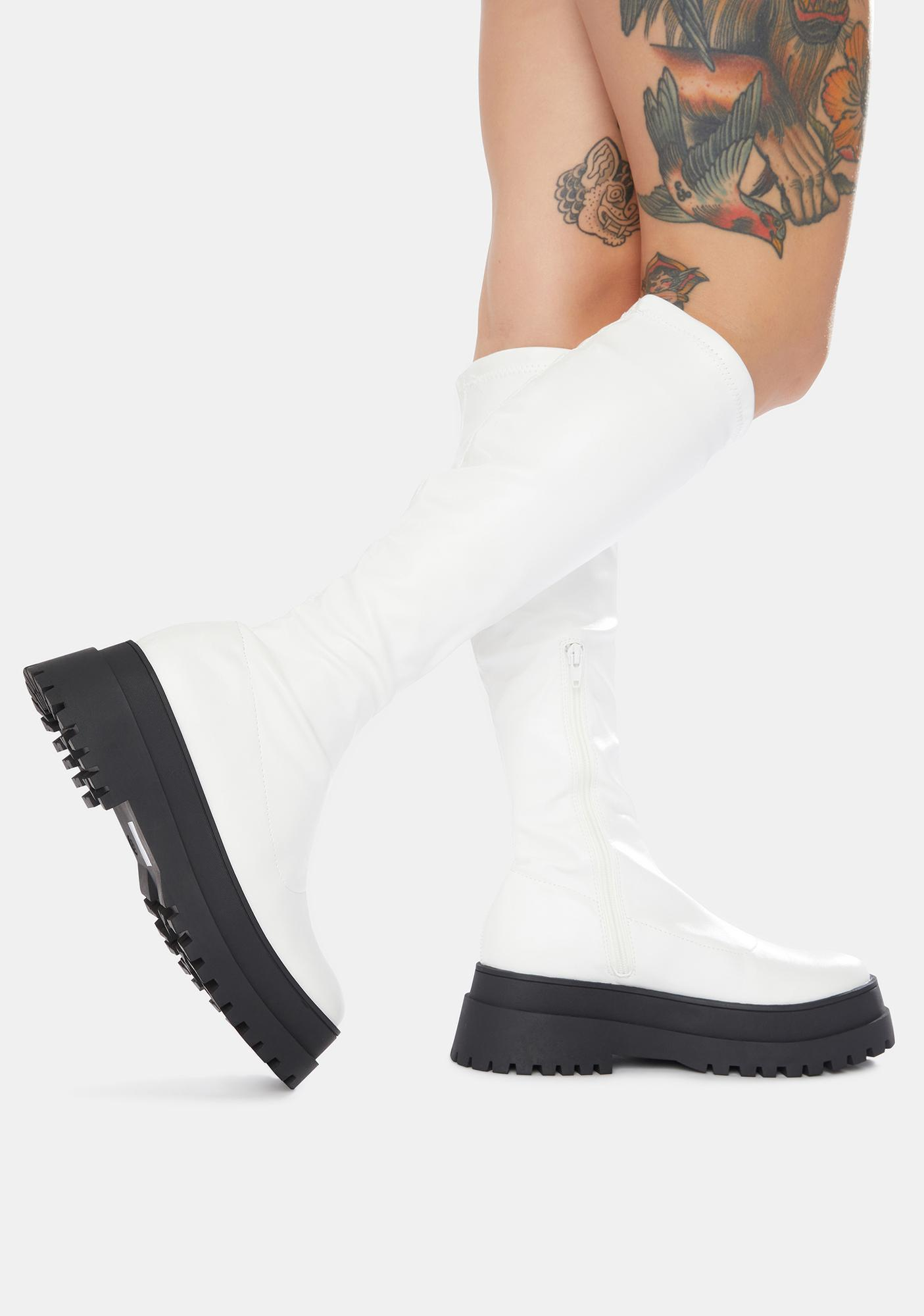 Public Desire White Haunt Knee High Chunky Sole Boots