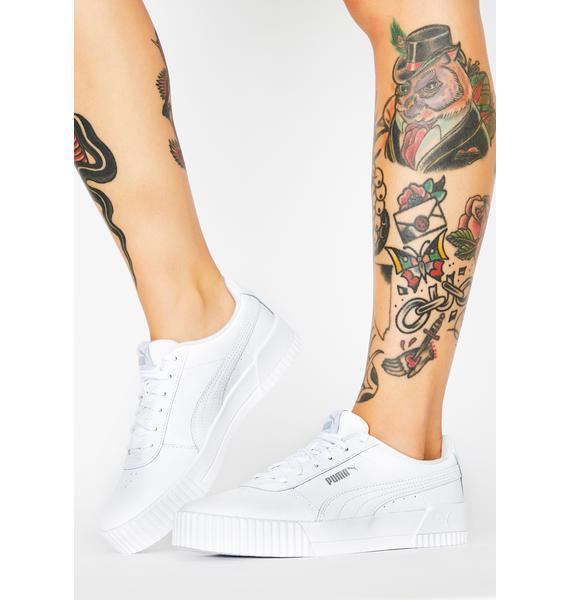 PUMA Silver White Carina Classic Sneakers