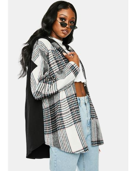 Grunge Time Hooded Plaid Shirt