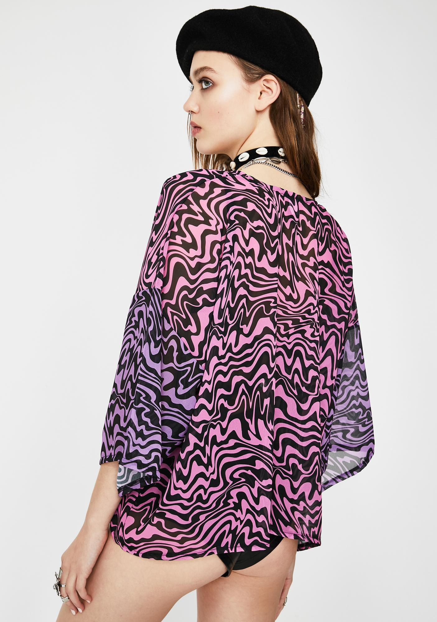 Tara Khorzad Trippy Pink Chiffon Kimono
