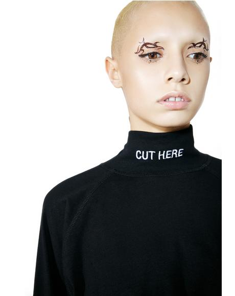 Cut Here Mock Turtleneck