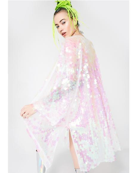 Iridescent Glimmer Goddess Sequin Kimono