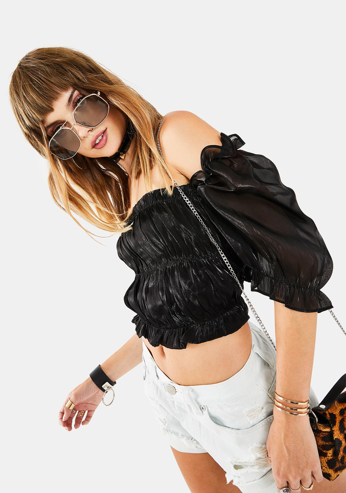 Glamorous Black Organza Top