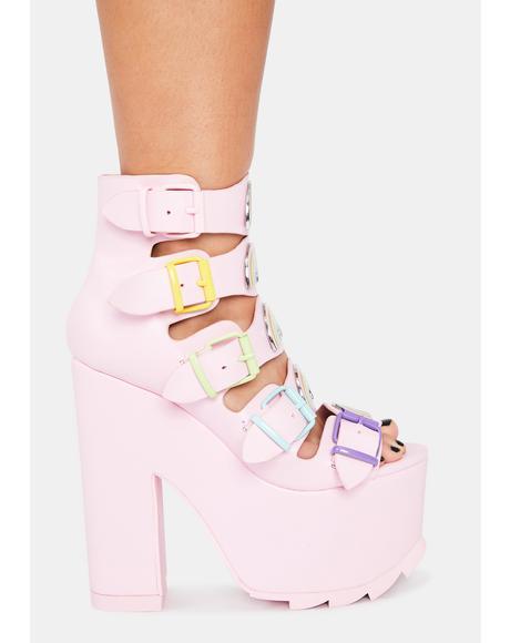 Pink Dreamscape Rainbow Platform Heels