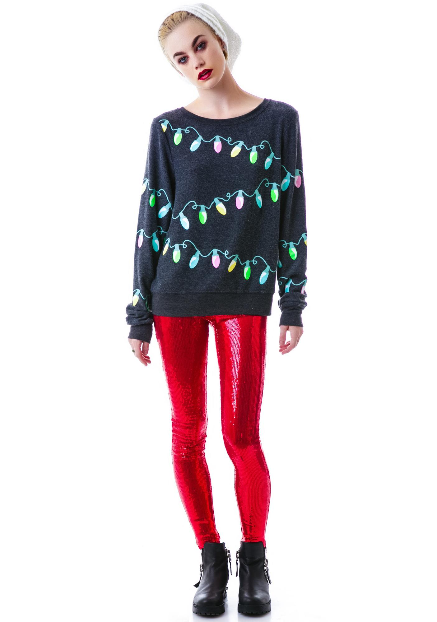 Wildfox Christmas Sweatshirt.Glowing Lights Baggy Beach Jumper