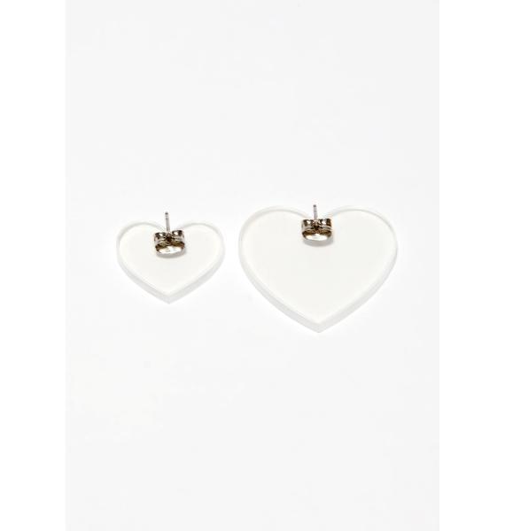 Clear Honeymoon Heart Earrings