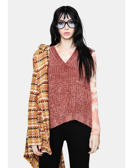 Rustic Hottie in Distressed Knit Sweater Vest