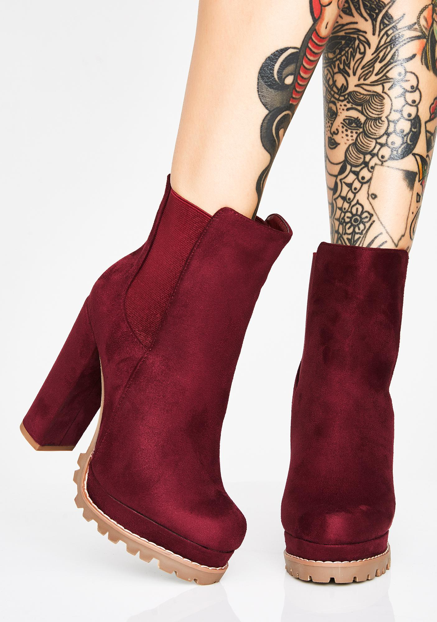 Wine Monclair Movement Ankle Boots