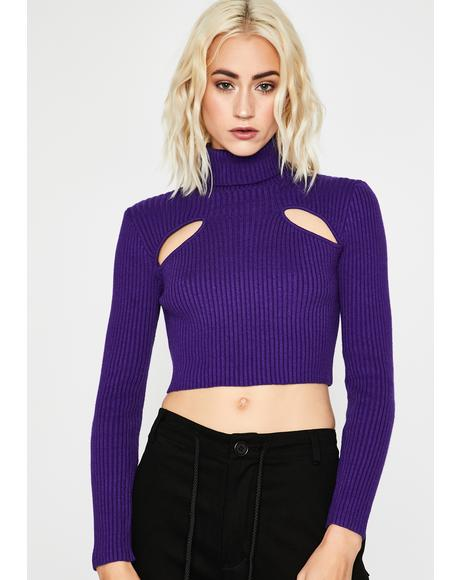 Purp Peep The Scene Cropped Sweater