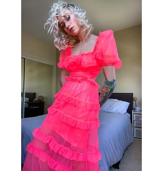 For Love & Lemons Neon Coral Vixen Maxi Dress