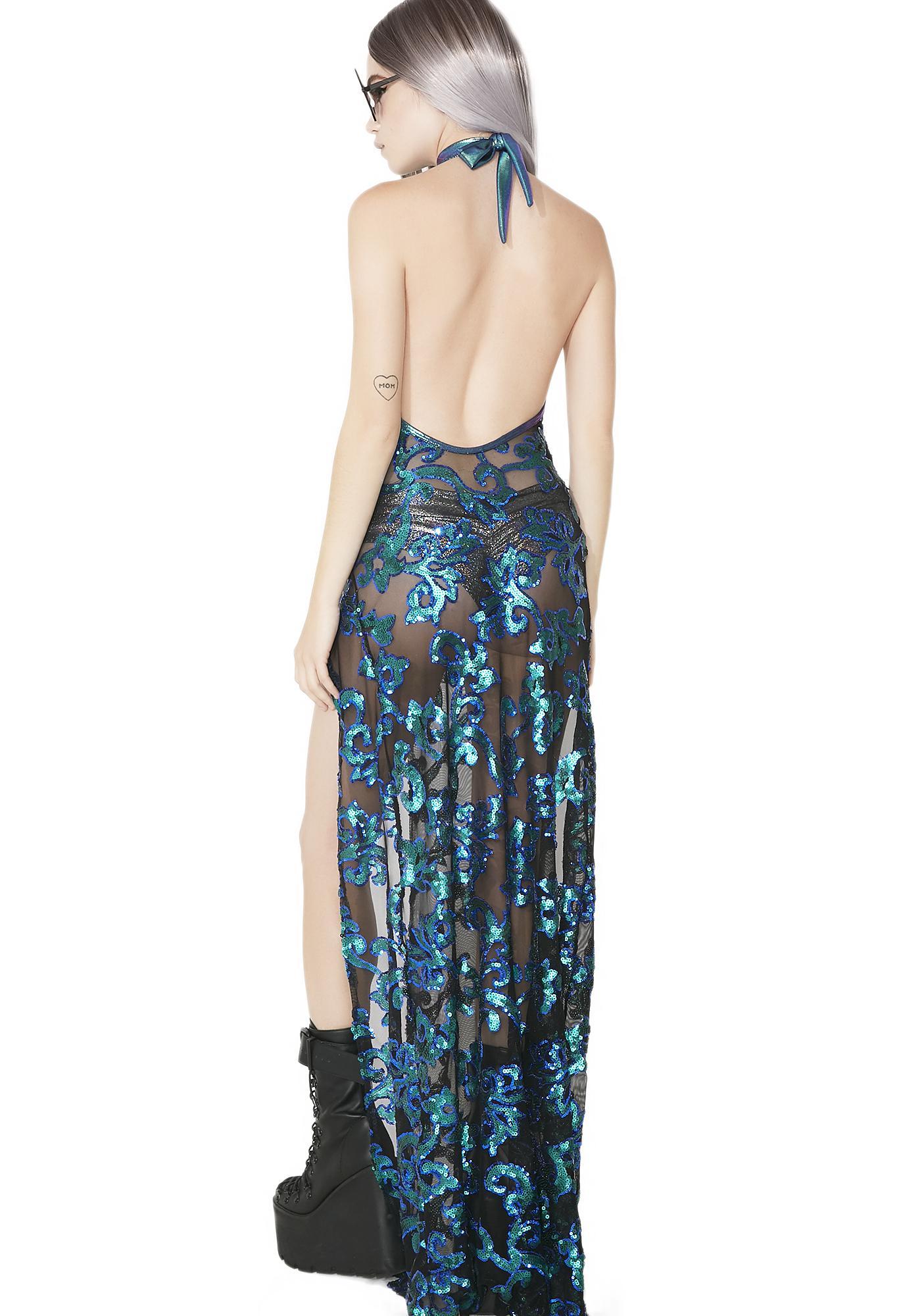 J Valentine Sequin Mesh Gown