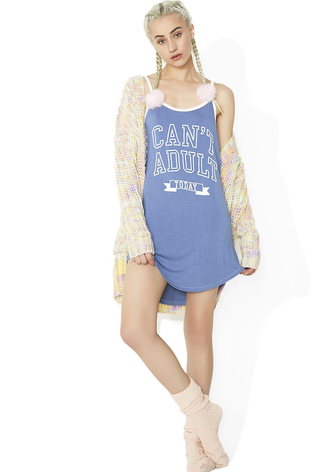 Junk Food Clothing Can't Adult Today Nightie