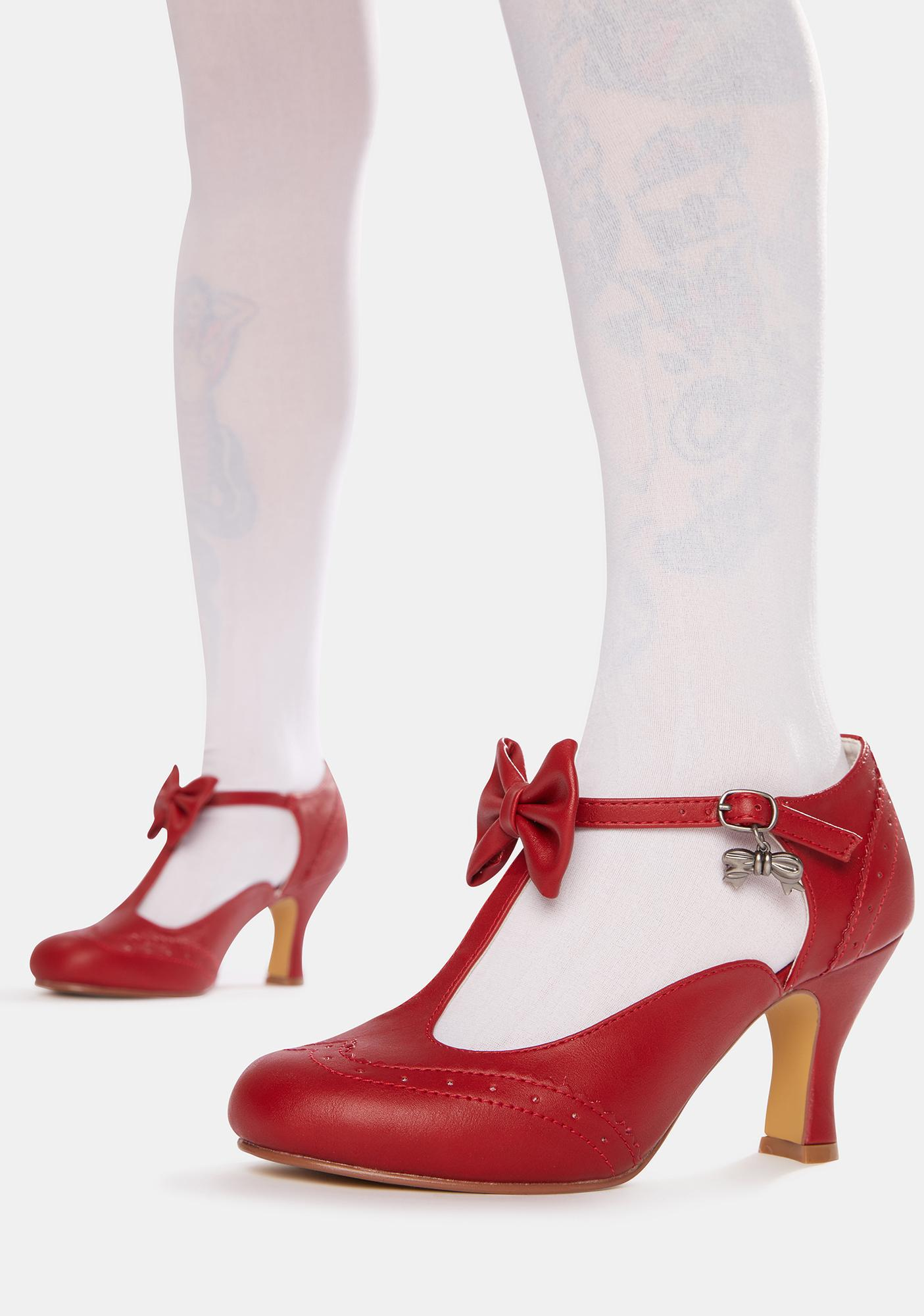Pin Up Couture Red Flapper Bow Tie Heels