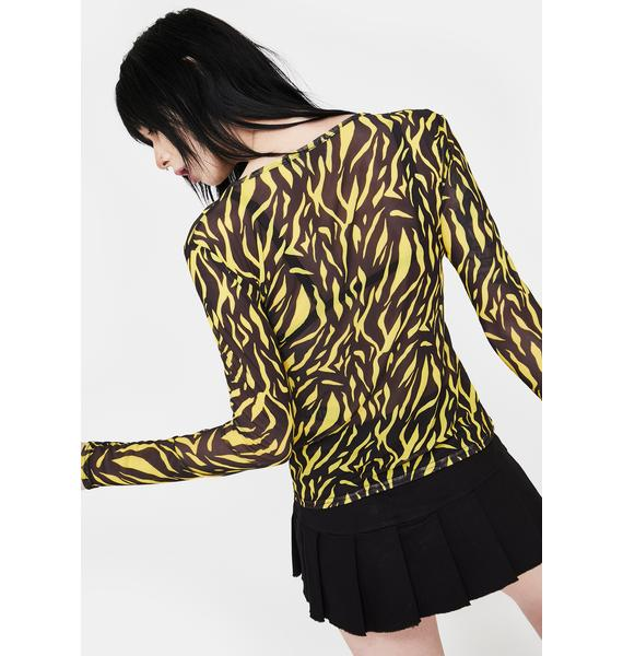 Daisy Street Mesh Animal Long Sleeve Top