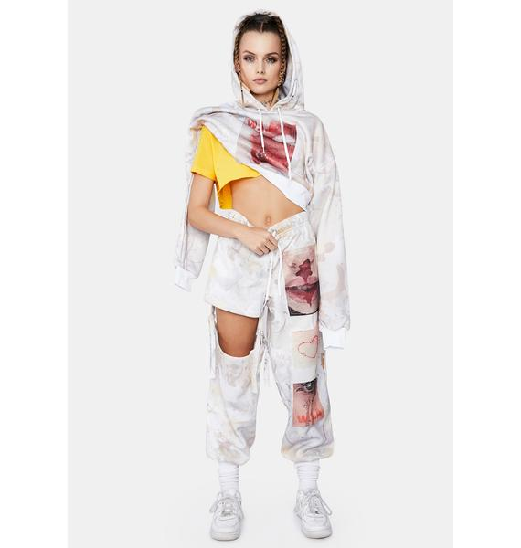 W.I.A Sexy Blood Oversized Crop Hoodie