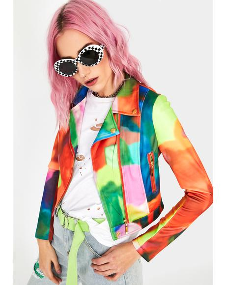 Watercolor Skies Moto Jacket