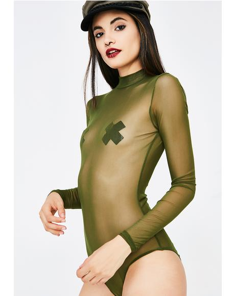 Jade Party Season Mesh Bodysuit