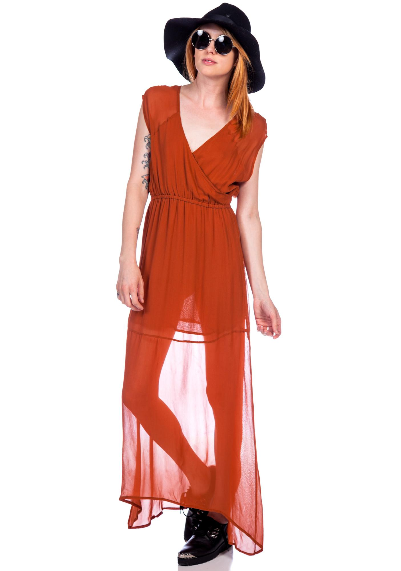 Chaser Georgette Draped Surplus Maxi Dress