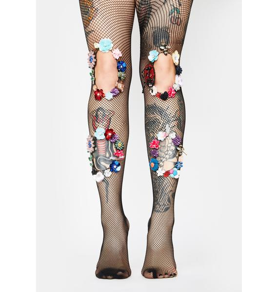Heart Of Gold Floral Tights