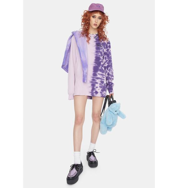 HUF Ellis Violet Tie Dye Long Sleeve Graphic Tee