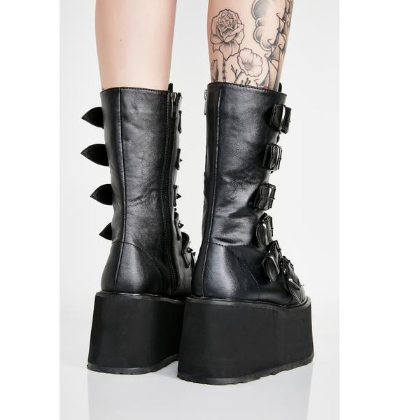 Demonia Midnight Prizm Heist Buckle Boots