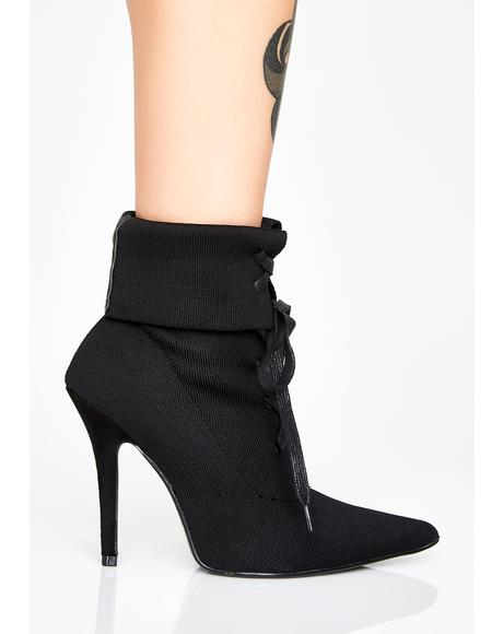 Night Covert Agent Lace-Up Booties