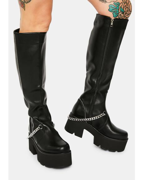 Got Me In Stitches Knee High Boots
