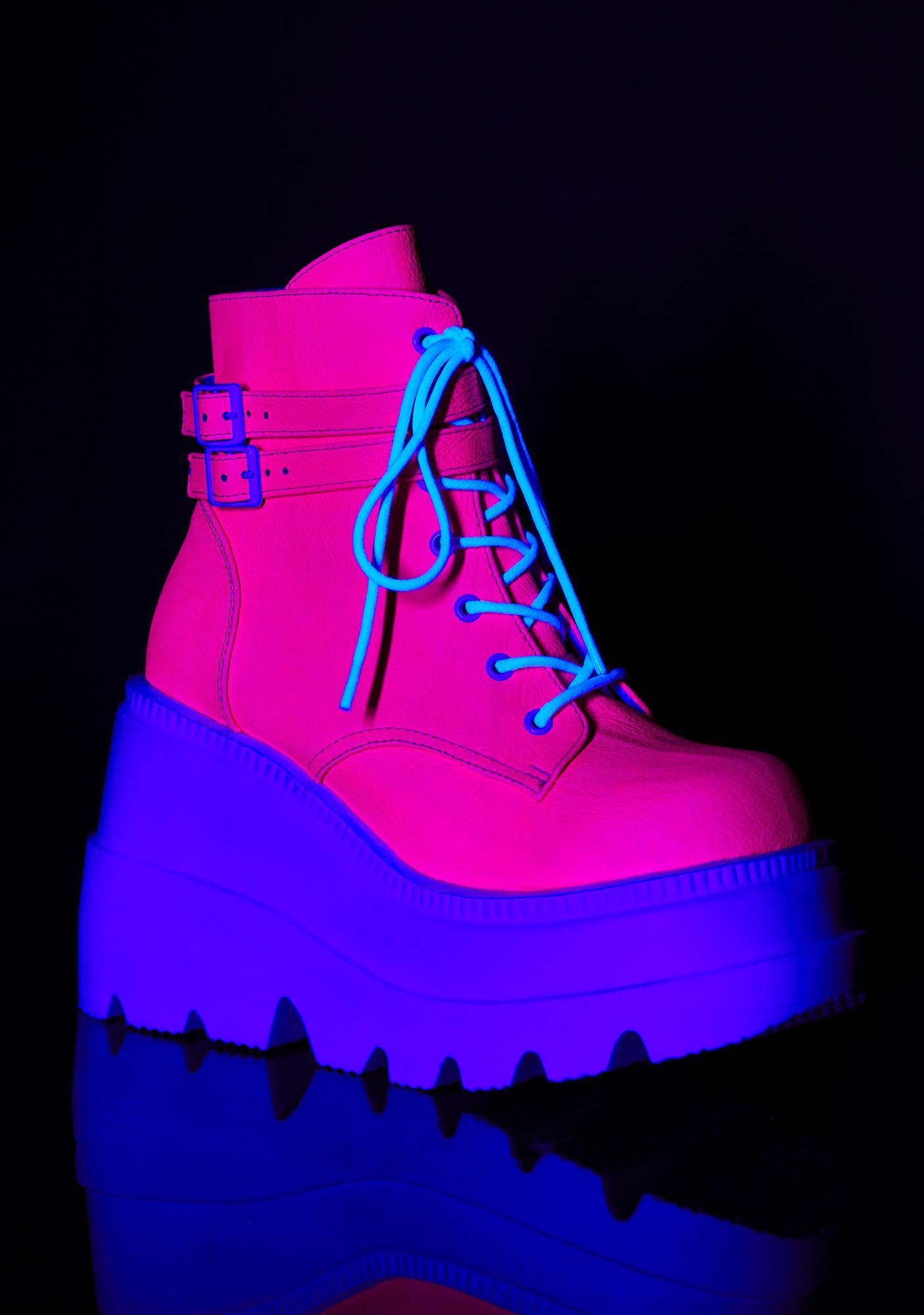 Demonia Pixie Heart UV Technopagan Boots