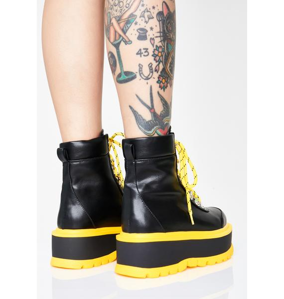 Koi Footwear Caution Hydra Matrix Platform Boots