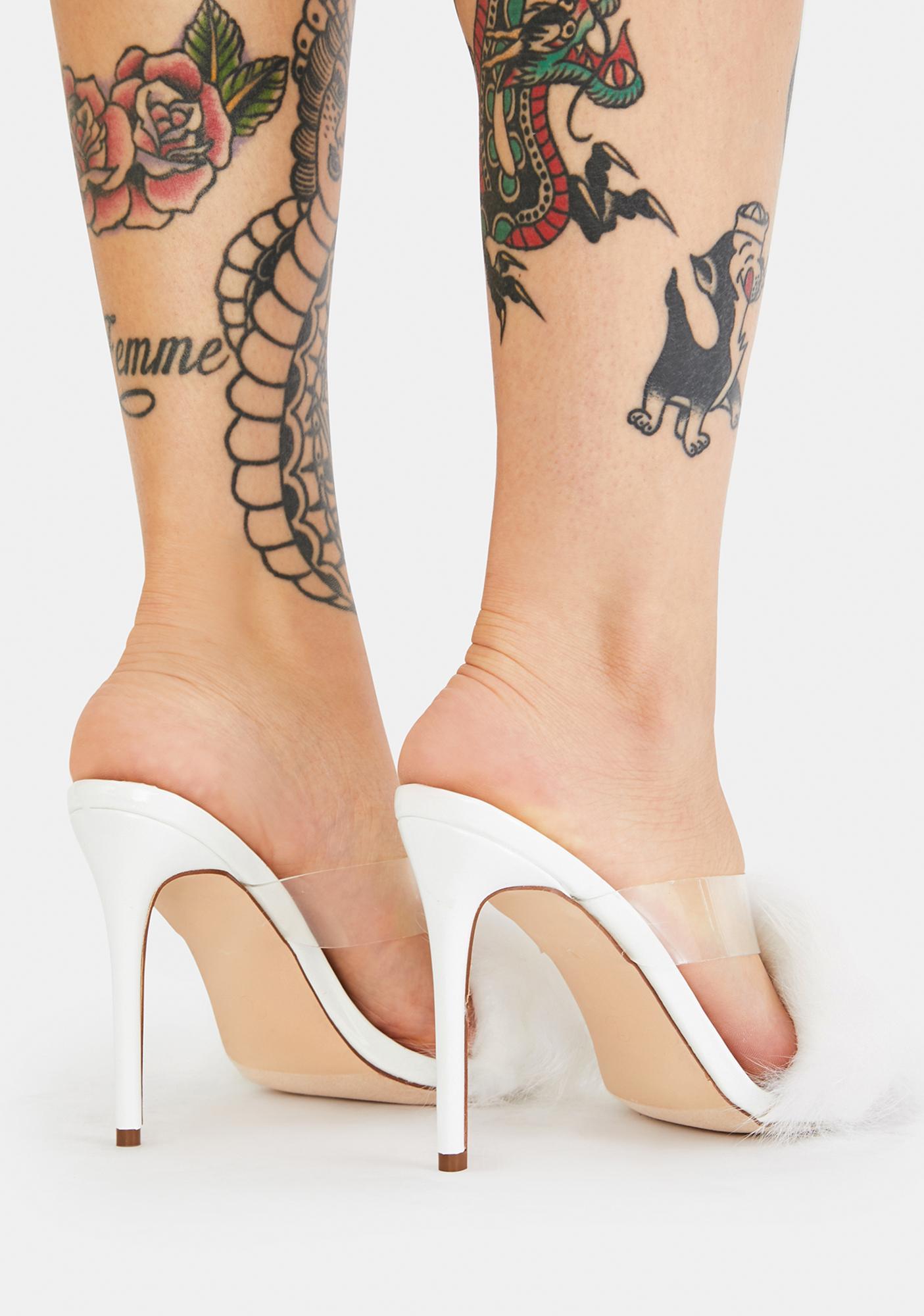 AZALEA WANG Orchard Fluffy Backless Heels