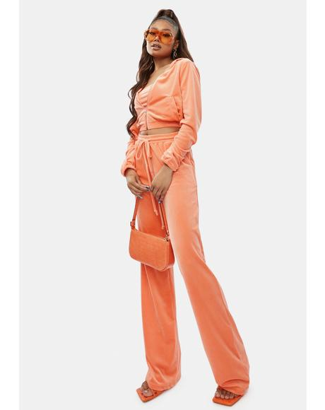 Peach Chill Times Velour Lounge Set