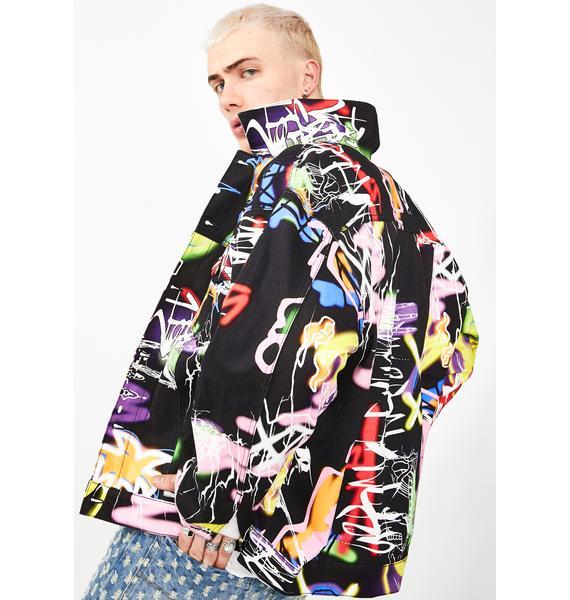 Jaded London Black Graffiti Print Denim Jacket