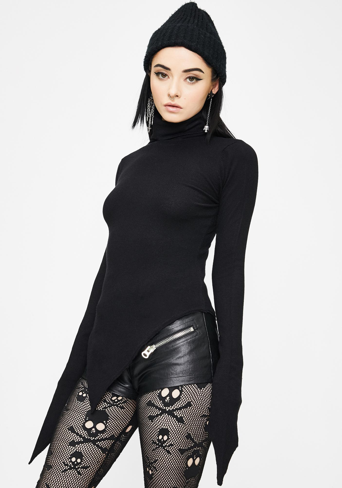 Punk Rave High Collar Irregular Hem Pullover Sweater