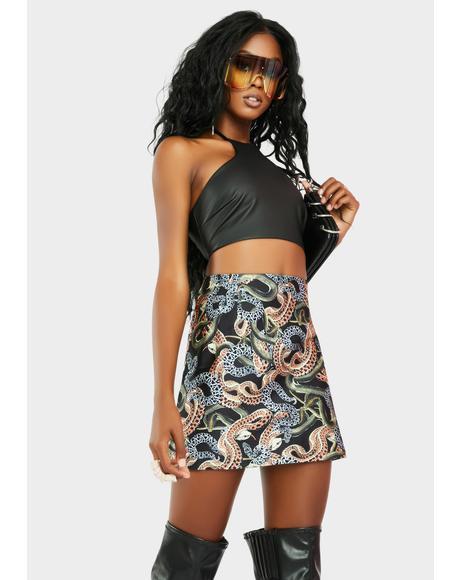 Snakes Alive Mini Slit Skirt