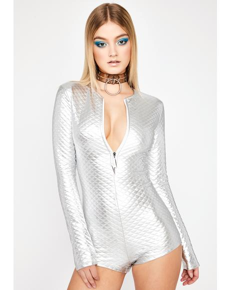 Chrome Drop The Bass Quilted Romper