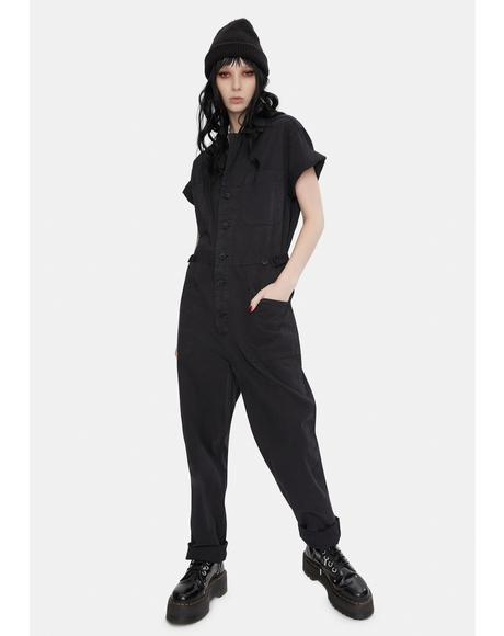 Black Grover Denim Jumpsuit