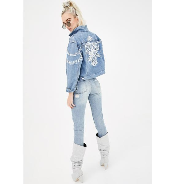 AZALEA WANG Love The Moon Pearl Embellished Denim Jacket