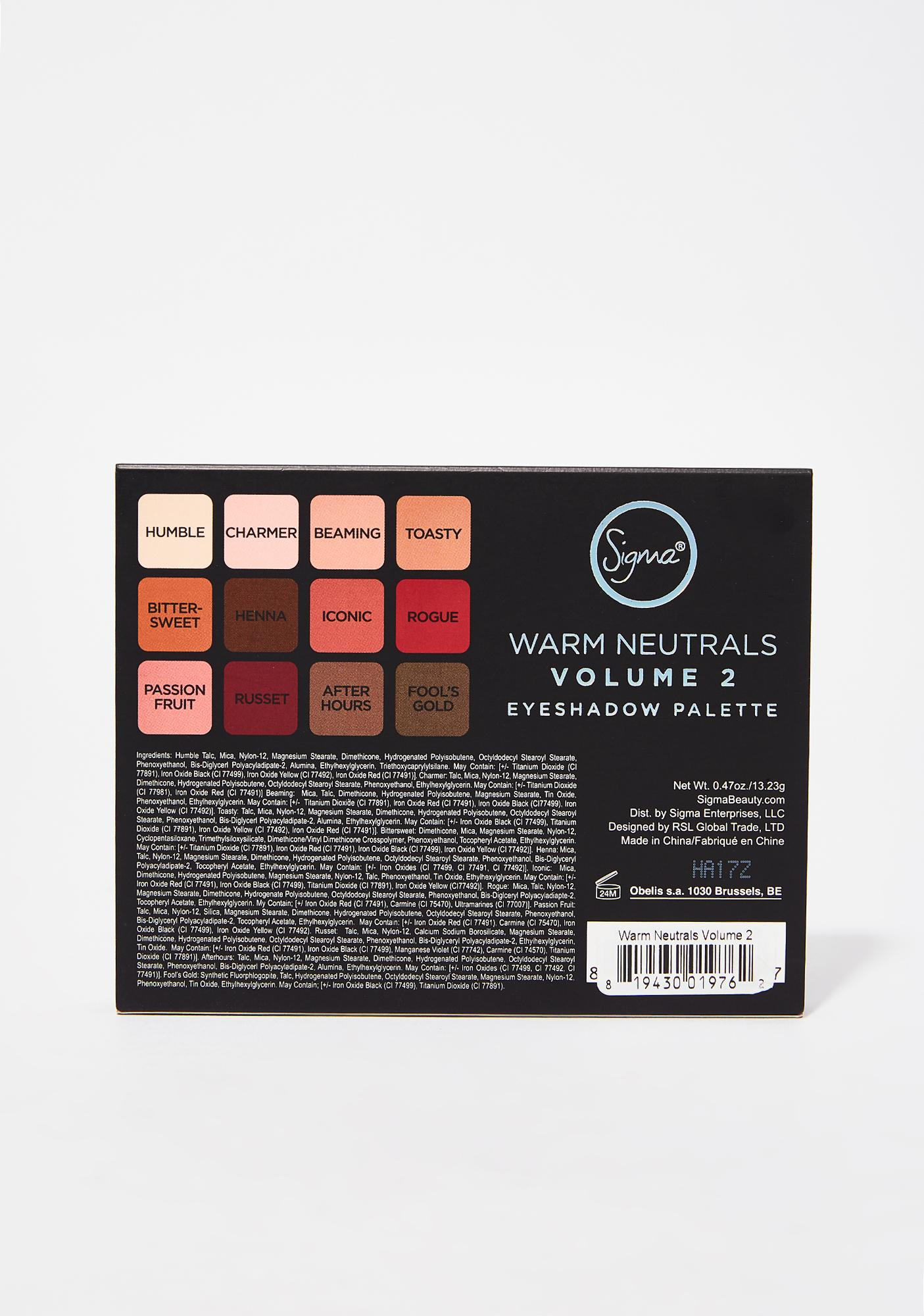 Sigma Warm Neutrals 2 Eyeshadow Palette