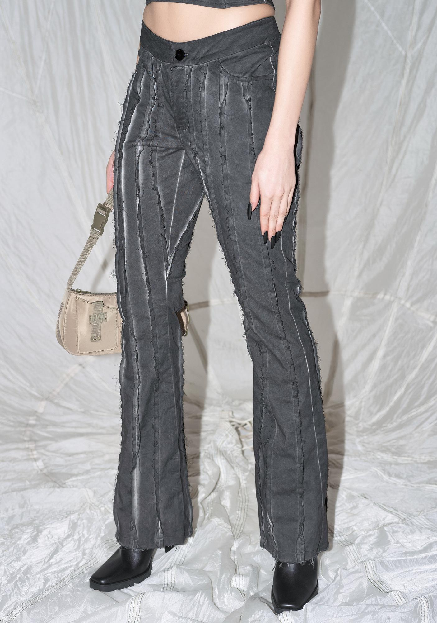 DARKER WAVS Synth Washed Pants With Raw Edge Details