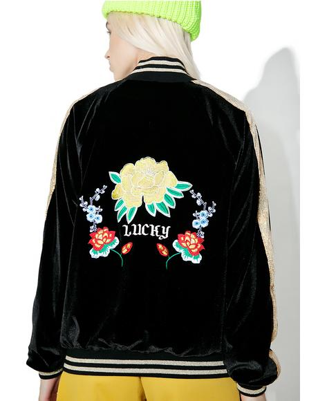 Embroidered Velvet & Sequin Bomber Jacket
