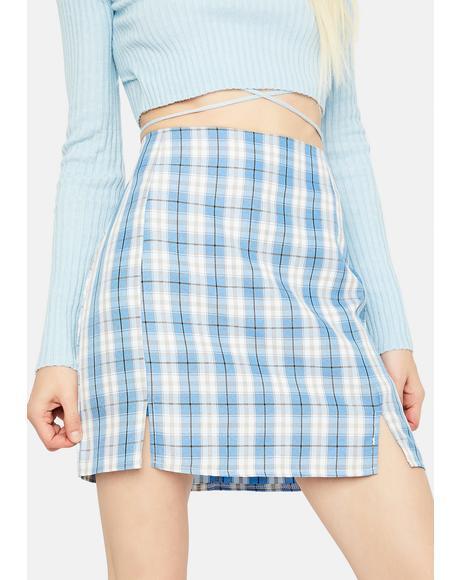 Aqua Playful in Plaid Mini Skirt