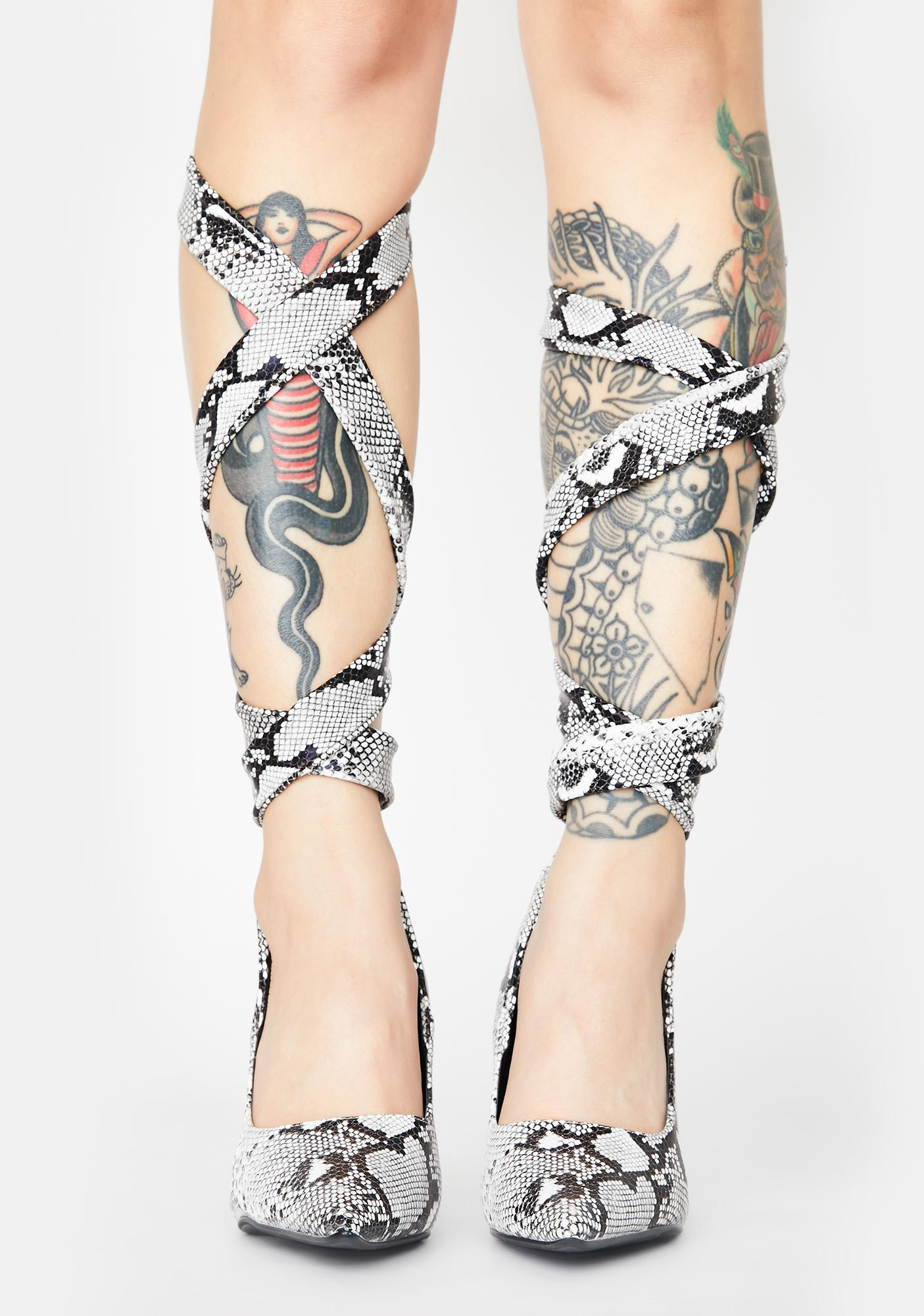 Viper Throwing Shapes Lace Up Heels
