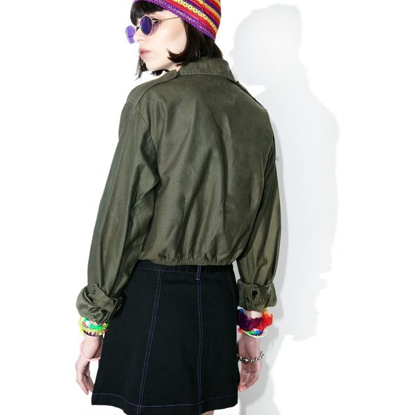 Reworked Crop Army Jacket