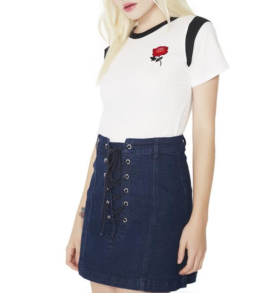 Fast Times Lace-Up Denim Skirt